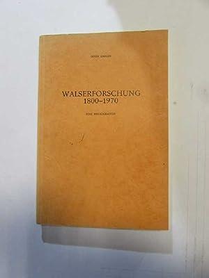 Walserforschung, 1800-1970 - Eine Bibliographie: Carlen, Louis: