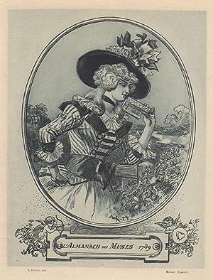 Estampe originale Eau-forte, Lectrice Almanach des Muses: Albert Robida