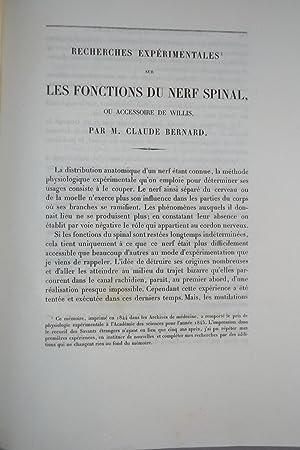 Recherches expérimentales sur les fonctions du nerf spinal ou accessoire de Willis.: BERNARD, ...
