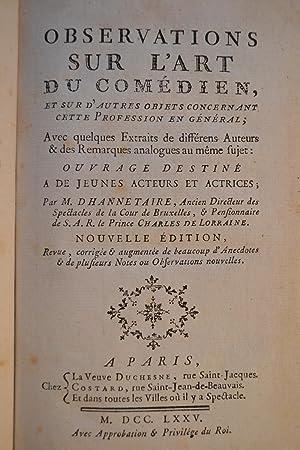 Bild des Verkäufers für Observations sur l'Art du Comédien. zum Verkauf von CLAVREUIL
