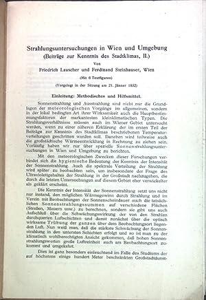 Bild des Verkäufers für Strahlungsuntersuchungen in Wien und Umgebung (Beiträge zur Kenntnis des Stadtklimas, II); zum Verkauf von Petra Gros