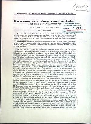 Bild des Verkäufers für Durchschnittserte der Flußtemperaturen in verschiedenen Seehöhen der Ostalpenländer; zum Verkauf von Petra Gros