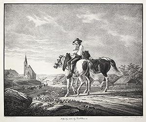 Landschaft mit 2 Pferden und einem Reiter vor einem Dorf ( ohne Titel ).: PFERDE: WÜRTTEMBERGISCHE ...