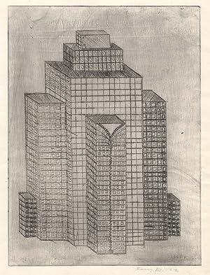 """Hochhaus mit Reissverschluss """".: ARCHITEKTUR: KARIKATUR:"""