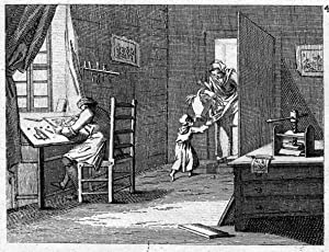 """Der Formschneider"""", Blick in eine Werkstatt mit einem Holzschneider bei der Arbeit.: ..."""