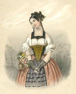 Junge Frau in bäuerlicher-städtischer Tracht (?) m.: Mode - Unbez.: