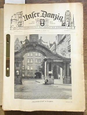 Seller image for Unser Danzig. Konvolut mit 27 Heften der Jahre 1959, 1960 und 1970. Enthalten: Jahrgang 11 (1959), Hefte 5, 20, 23, 24. / Jg. 12 (1960), Nummern 1, 2, 3, 4, 5, 6, 7, 8, 9, 12, 13, 14, 15, 16, 17, 18, 19, 20, 21, 22, 23 und 24. / Jhgg. 22 (1970), Nr. 24. Nec Temere. Nec Timide. Mitteilungsblatt des Bundes der Danziger. for sale by Antiquariat Carl Wegner
