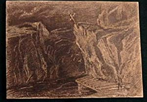 """Mountainous Landscape"""". ORIGINAL Miniature pencil sketch.: John or Edwin Landseer. ARA."""