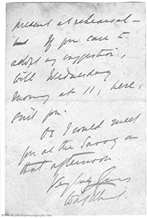 Final page of an an Autograph Letter Signed (Sir William Schwenk, 1836-1911, Librettist of Gilber...