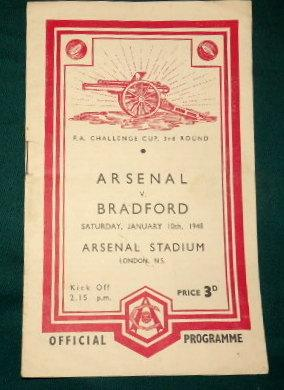 Arsenal versus Bradford. Saturday 10th January 1948. F. A. Cup 3rd Round. Official Programme.