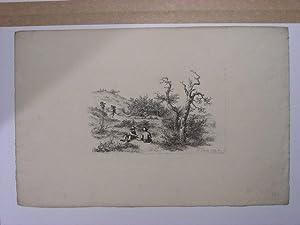 Zwei Künstler beim Zeichnen vor der Natur, im Hintergrund Beerensammler. Aus der Folge `Etudes ...