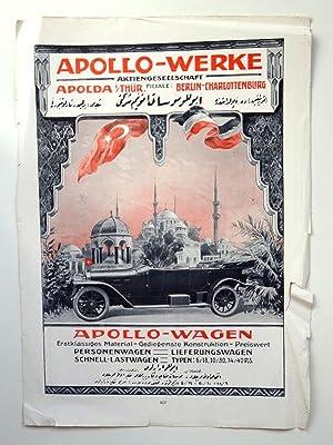 Apollo-Werke Zeitschrifteninserat türkisch ganzseitig um 1916: Apollo-Werke Apolda