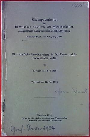 Über dreifache Geradensysteme in der Ebene, welche Dreiecksnetze bilden.: H. Graf, R. Sauer