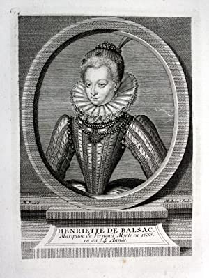 """Henriette de Balsac"""" - Catherine Henriette de Balzac mistress Kupferstich Portrait engraving"""
