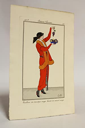 Costumes parisiens. Tailleur de duvetyn rouge bordé: VAN BROCK Jan
