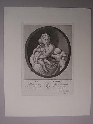 """La Charité(""""). Allegorie auf die Wohltätigkeit. Nach Raphael.: Hugel, franz. Graveur:"""