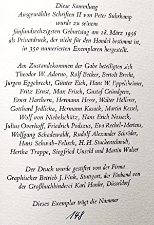 Peter Suhrkamp - Ausgewählte Schriften II zur Zeit- und Geistesgeschichte: Suhrkamp, Peter