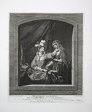 """Delivering the billet"""" - letter Brief note Frau woman delivery Kupferstich engraving: Miller, ..."""