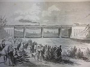 Holzstich Bayern München - Die Eisenbahnbrücke über die Isar bei Großhesselohe. Orig.-Zeichnung von...