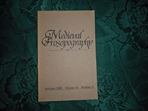 Medieval Prosopography Autumn 1989 Volume 10 Number 2