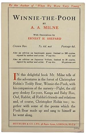 Winnie The Pooh. [Ephemera. Book Ad for: MILNE, A.A.