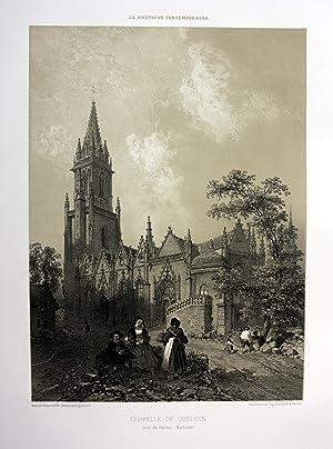 """Chapelle de Quelven"""" - Chapelle Notre-Dame-de-Quelven Bretagne France estampe Lithographie ..."""