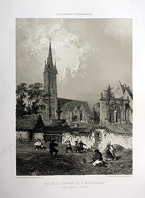 """Eglise et Fontaine de St. Jean-du-Doigt"""" - Eglise Saint-Jean-du-Doigt Bretagne France estampe ..."""