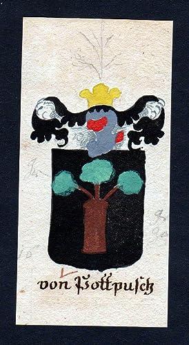 """von Pottpusch"""" - von Pottpusch Böhmen Manuskript Wappen Adel coat of arms heraldry Heraldik"""