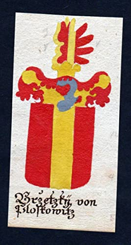 "Brzetzky von Ploskowitz"" - Brzetzki Orlau Ploskovice Böhmen Manuskript Wappen Adel coat of arms..."