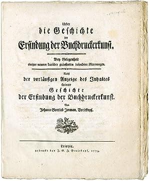 Ueber die Geschichte der Erfindung der Buchdruckerkunst.: Breitkopf, Johann Gottlob