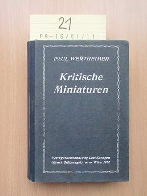 Kritische Miniaturen - Essais zur modernen Literatur: Wertheimer, Paul: