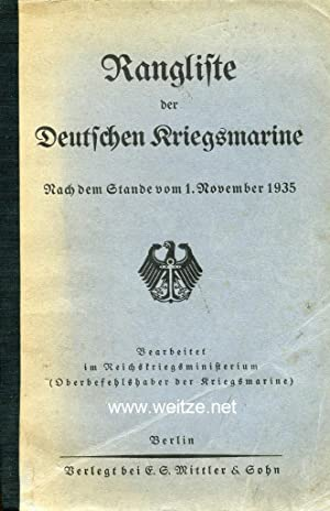 Rangliste der Deutschen Kriegsmarine - Nach dem Stande vom 1. November 1935,: ...