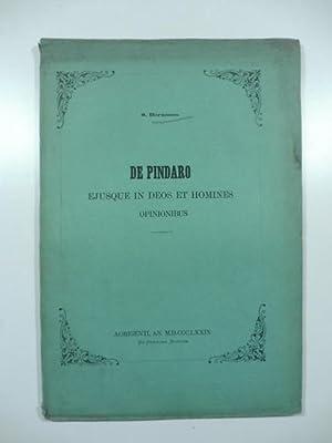 De Pindaro ejusque in deos et homines opinionibus: BERNOCCO S.