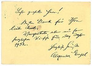 Eigenh. Postkarte mit U.: Engel, Alexander, Schriftsteller