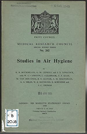 Studies in Air Hygiene. (= Medical Research Council Special Report Series No. 262.): STUDIES IN AIR...