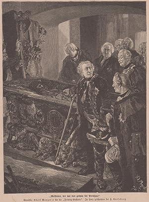 """Orig. Holzstich Friedrich der Große- """"Messieurs, der hat viel gethan für Preußen"""" Gemalt ..."""
