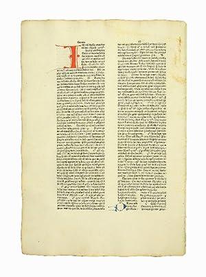 """Einzelblatt aus den  Sermones quadragesimales de legibus"""": Inkunabelblatt - Leonardus"""