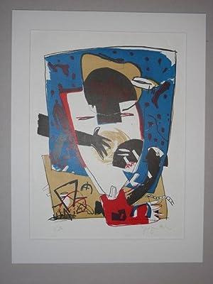 Figur mit roten Schuhen auf blauem Feld, abstrakt.: Hiltner, Gregor: