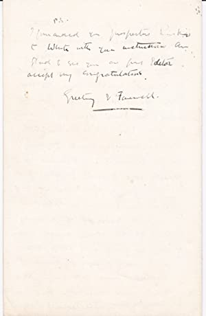 AUTOGRAPH LETTER TO AUTHOR KINETON PARKES SIGNED BY ILLUSTRATOR AND LANDSCAPE PAINTER ALAN WRIGHT.:...