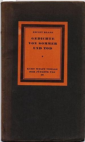 Die Gedichte von Sommer und Tod.: Blass, Ernst