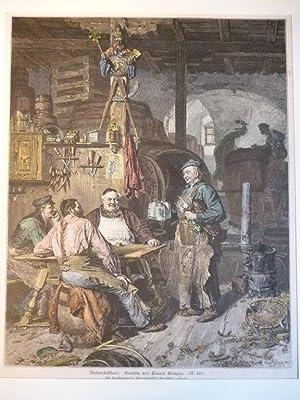 Orig. kolorierter Holzstich - Wirtshaus - Klosterschäfflerei