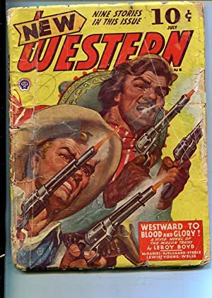 NEW WESTERN-JULY 1943-VIOLENT PULP FICTION-BANK ROBBERY COVER-poor
