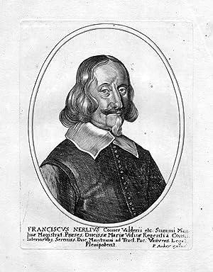 """""""Franciscus Nerlius"""" - Francesco Nerli Kardinal Italia acquaforte Portrait Kupferstich ..."""