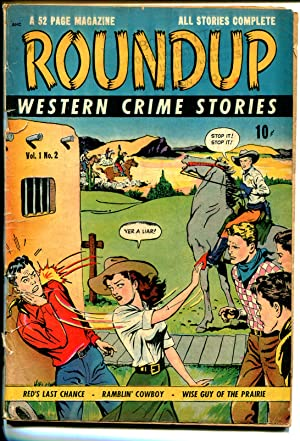 Roundup #2 1948-DS-Western Crime Stories-aggressive woman-suicide panel-VG-