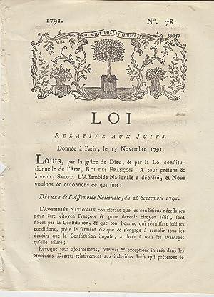 Loi relative aux Juifs. Donnée à Paris, le 13 Novembre 1791. . Décret de l'Assemblée Nationale,...