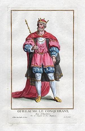 "Guillaume le Conquerant"" - William the Conqueror England Portrait costumes Kupferstich antique ..."