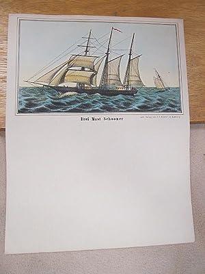 Drei Mast Schooner. Kolorierte Lithographie auf einem Briefbogen.