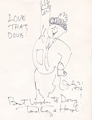 AN ORIGINAL PEN-AND-INK DRAWING of THE CARTOON CHARACTER HAZEL, INSCRIBED to DOUG & SIGNED by ...