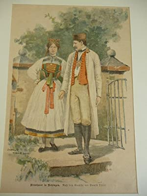 Orig. kolorierter Holzstich - Historie - Brautpaar in Betzingen.