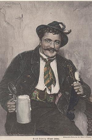 Orig. kolorierter Holzstich - Bier - Ernst Schmitz.